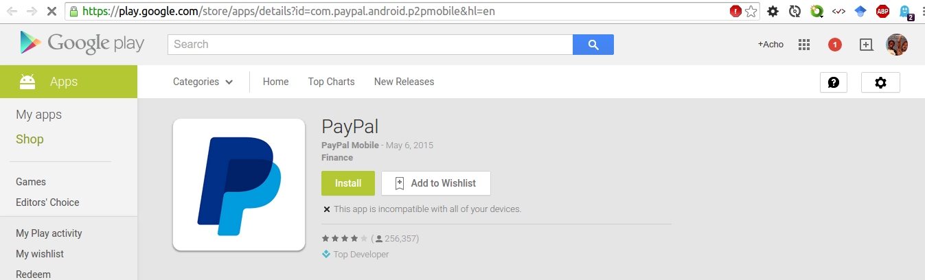 Paypal on Playstore