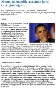 Obama, göçmenlik yasasında hayal kırıklığına uğradı