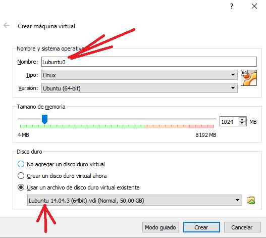 Creación máquina virtual (VirtualBox) Lubuntu