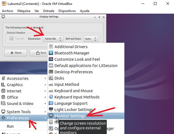 Configuración Monitor Settings Lubuntu