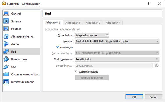 Configuración red máquina virtual (VirtualBox)