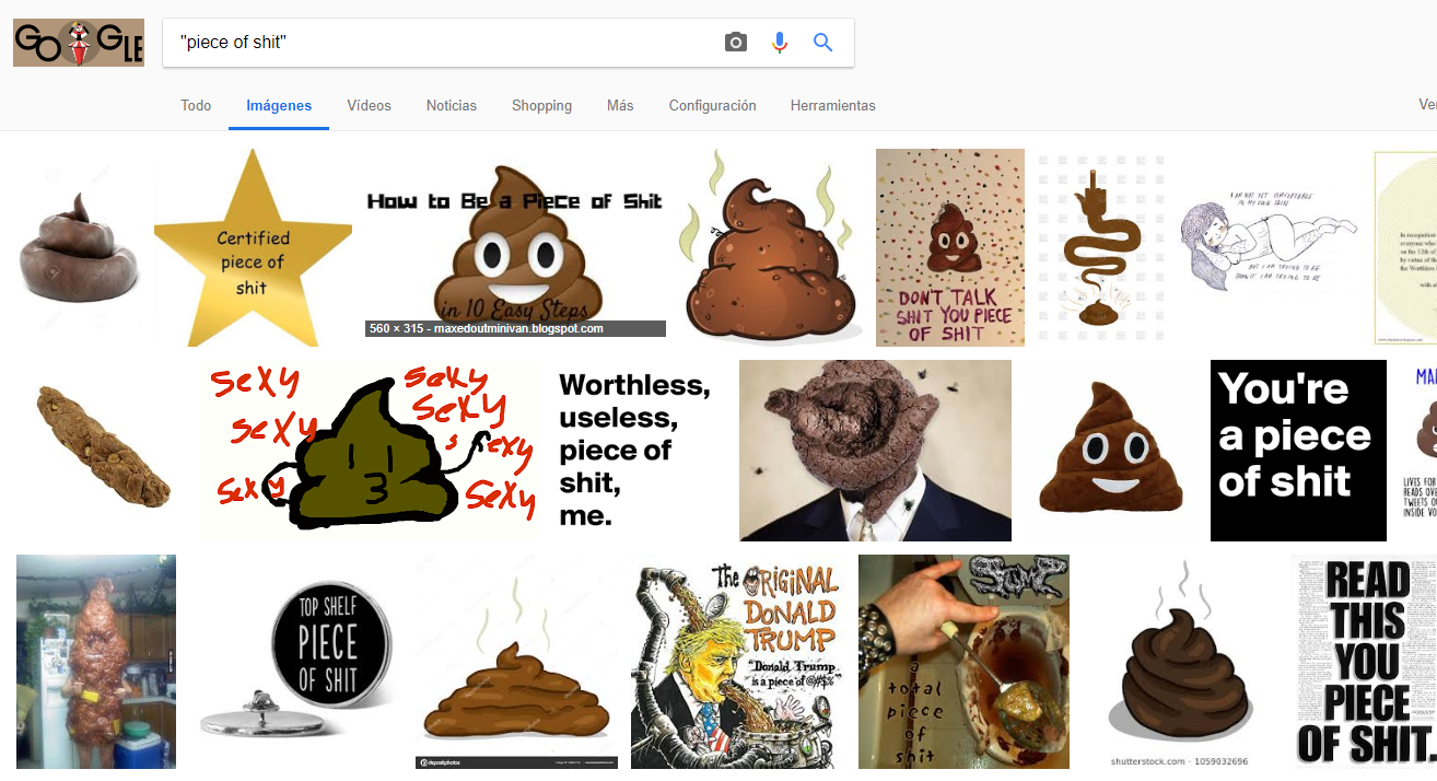 "If you search via Google ""piece of shit"" it appears Donald Trump photo"
