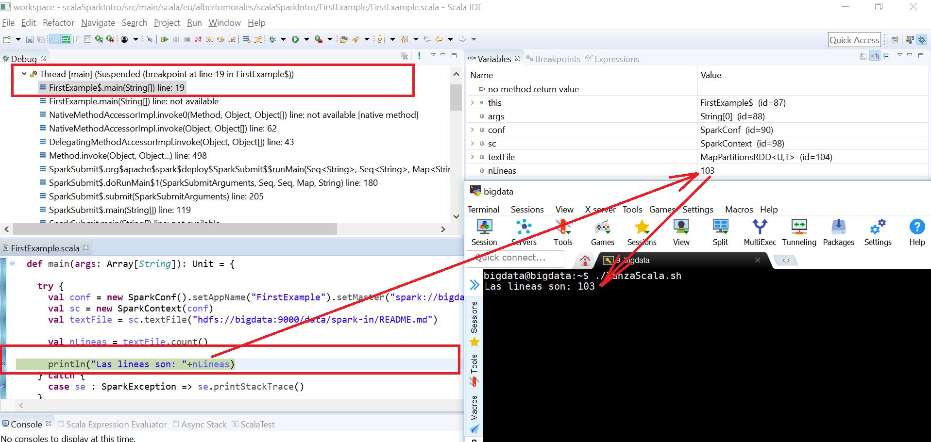 Depurando un proceso (scala) de Apache Spark desde el Scala IDE