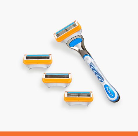 4 Gillette Fusion5 Razor Blade Cartridges + Handle Included