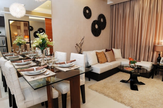 1 BR Model Unit - Dining and Living Room