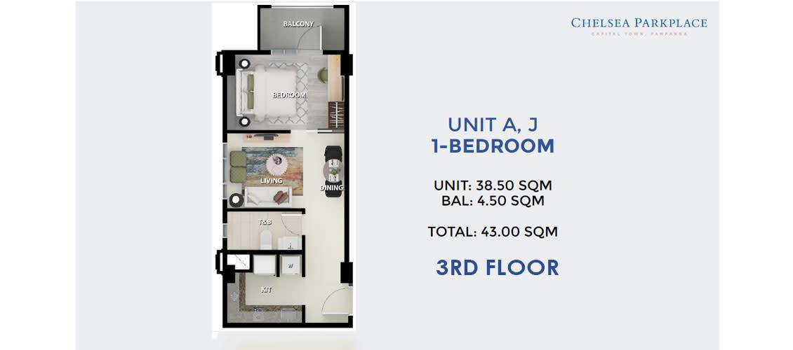 1 BR Unit A, J 3rd Floor