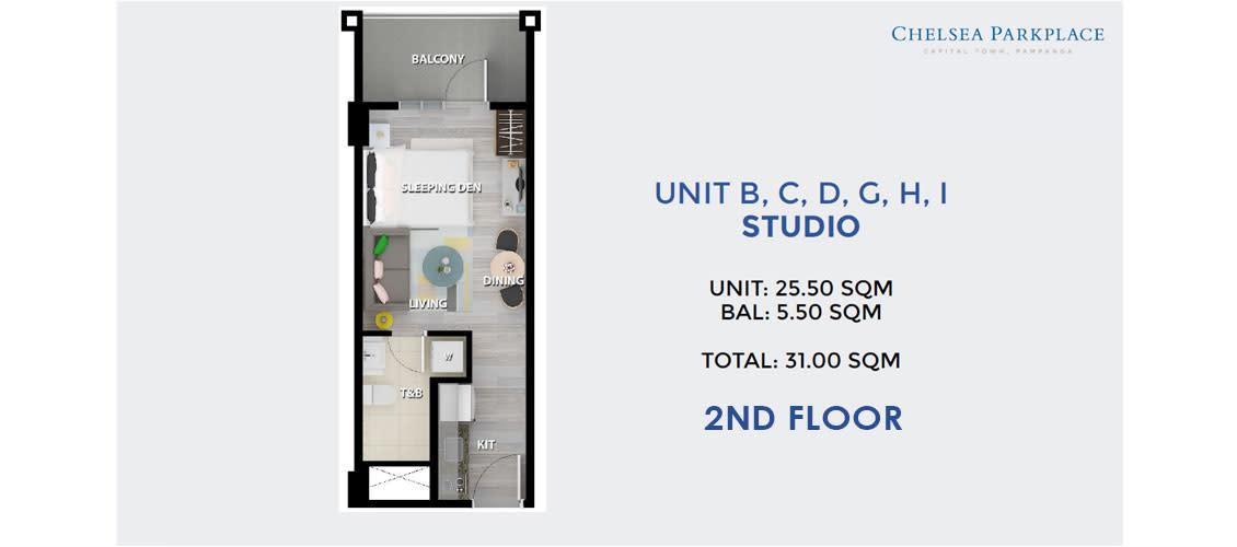 Studio Unit B, C, D, G, H, I 2nd Floor