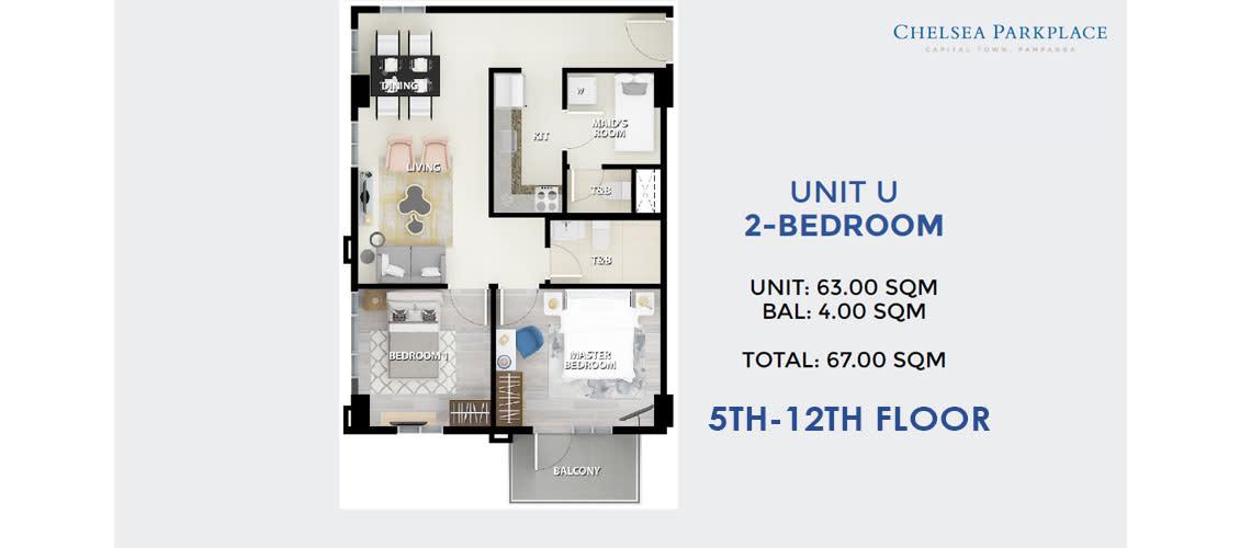 2 BR Unit U 5th-12th Floor