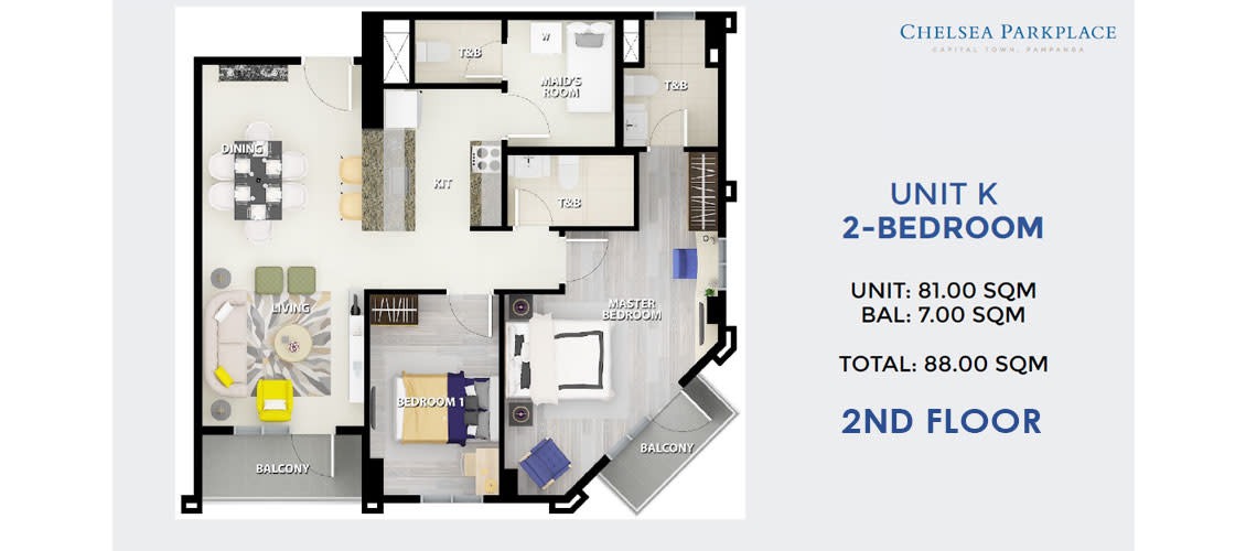 2 BR Unit K 2nd Floor