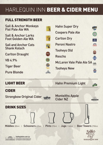 Beer and Cider Menu