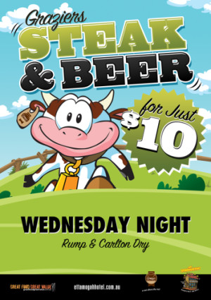 Wednesday $10 Steak & Beer Night