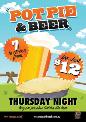 Thursday $12 Pie & Beer Night