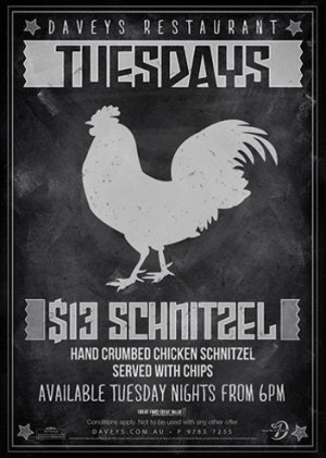 Tuesday Night $13 Schnitzel & Chips