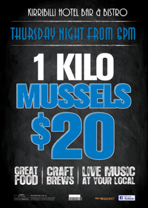 Thursday $20 for 1 Kilo Mussels