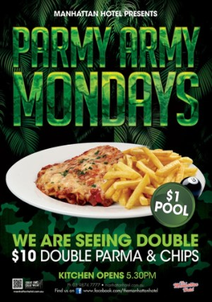 Mondays $10 Parmy Army Double