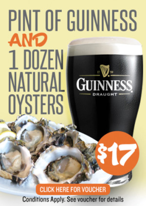 VOUCHER: $17 for One Dozen Natural Oysters & One Pint of Guinness