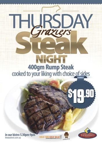 Thursday $19.90 Steak Night