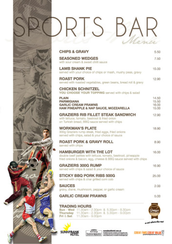 New Sports Bar Menu
