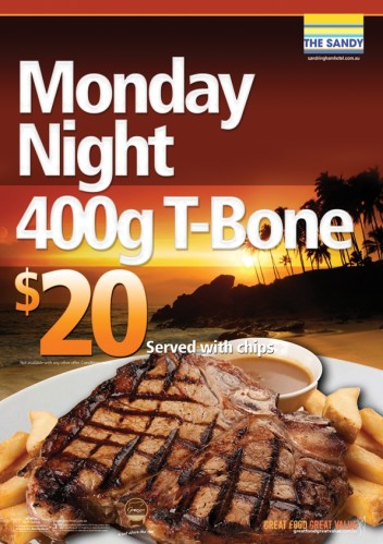 Monday $20 400g T-Bone
