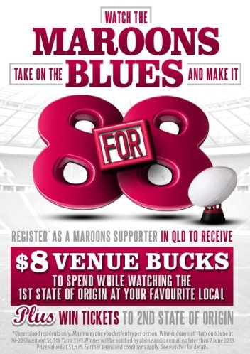 Maroons Supporters Receive $8 Venue Bucks