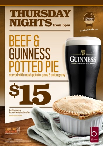 Beef & Guinness Potted Pie Thursdays