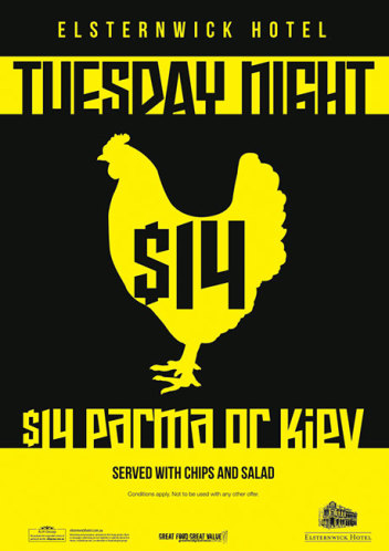 Tuesday $14 Parma or Kiev