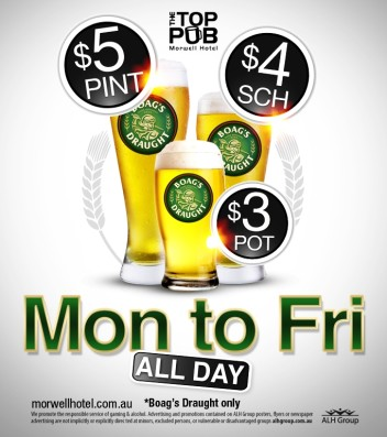 Monday to Friday Boag's Draught Specials