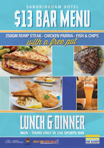 $13 Bar Meals Monday - Thursday