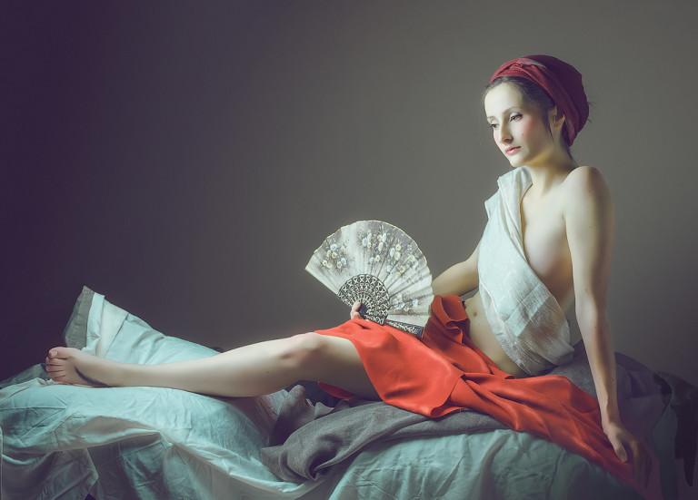 Woman with white fan
