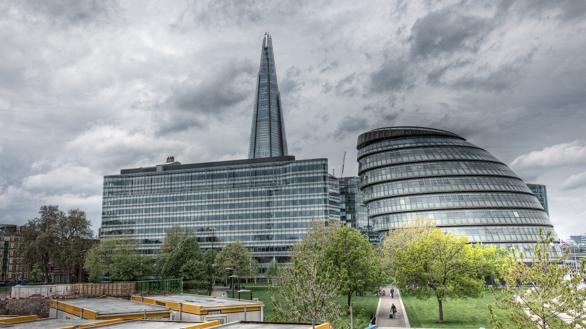 West Down the South Bank, Featuring the Shard and Town Hall