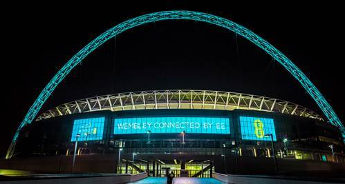 Wembley Stadium with Arch in blue