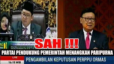 PANAS, Fadli Zon Ketok Palu Pengambilan Keputusan PERPPU ORMAS Sidang Paripurna DPR RI