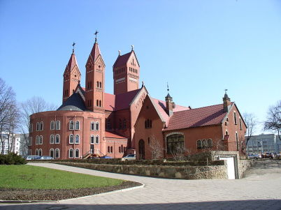 Kostel sv. Simona a Heleny - https://commons.wikimedia.org/wiki/File:Belarus-Minsk-Church_of_Simon_and_Helena-3.jpg