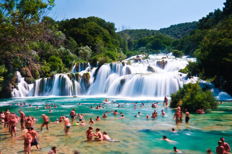 Vodopád v Národním Parku Krka nedaleko Šibeníku