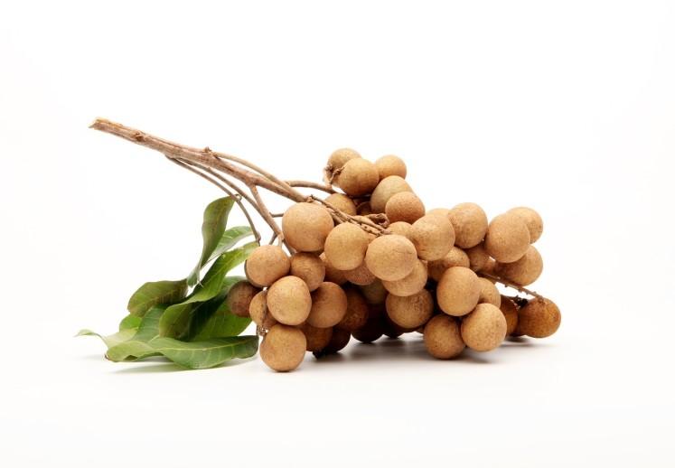 Plody longanu prodávané na větvičce stromu