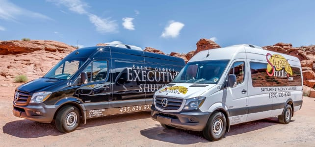 St George Shuttle building and fleet, vans, shuttles, limo, taxi and charter