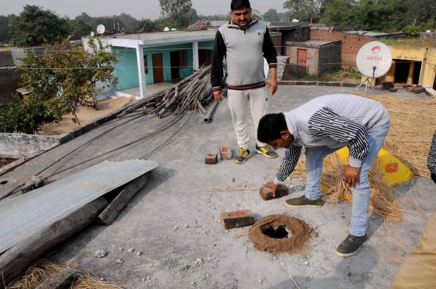 In Palatan village a house is damaged in Pakistani Shelling,