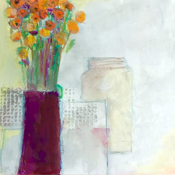 Marigolds In Fuchsia Vase By Jill Krasner Artwork Archive