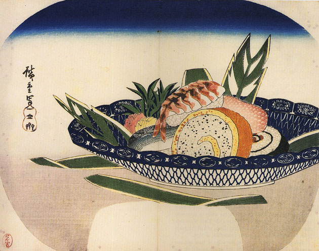 Sushi pintado por Hiroshige, na era Edo