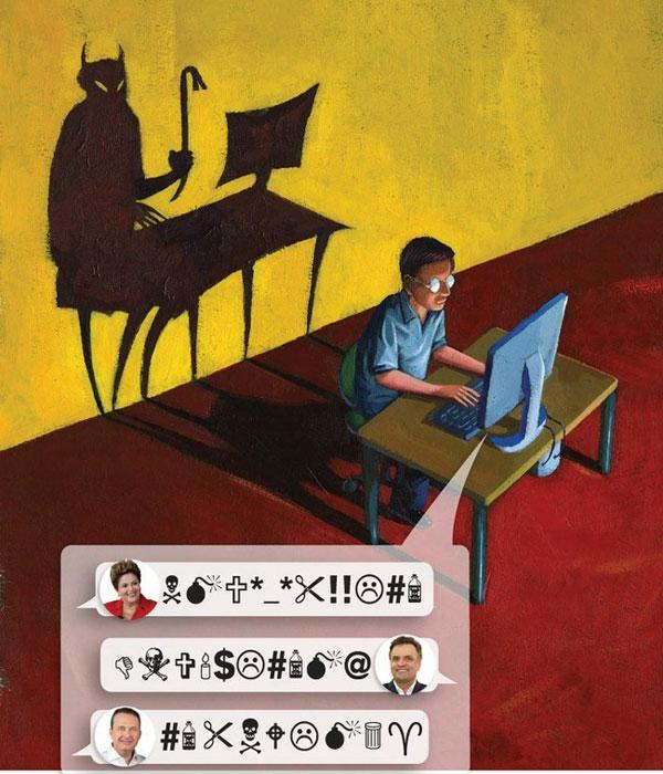 Ilustração sobre ofensas virtuais