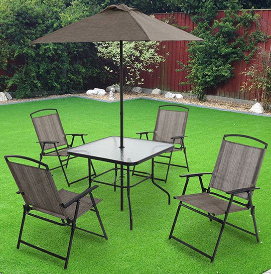 Oferta juego de jard n monaco mesa sillas y paraguas for Mesas y sillas de jardin economicas