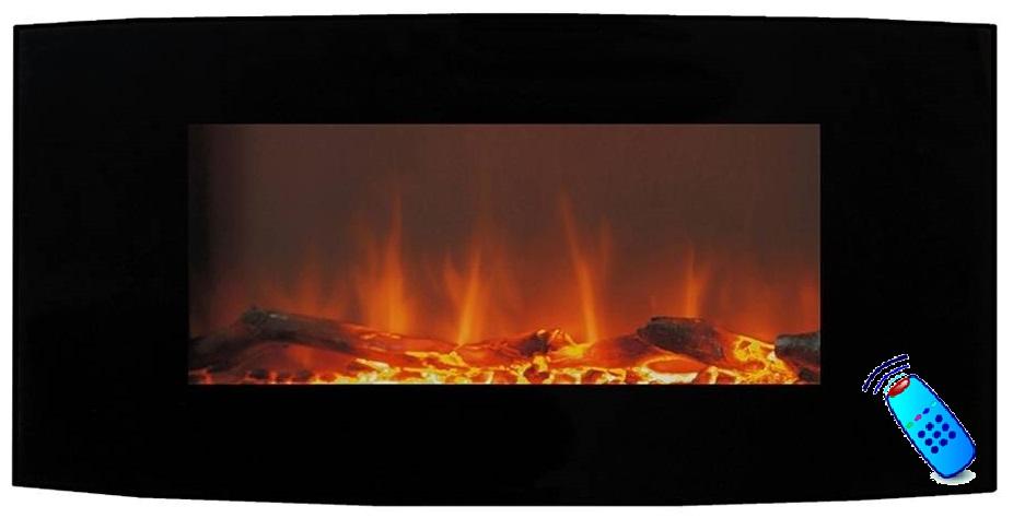Calefactor chimenea el ctrica de pared pantalla curva 90cm - Radiadores de pared electricos ...