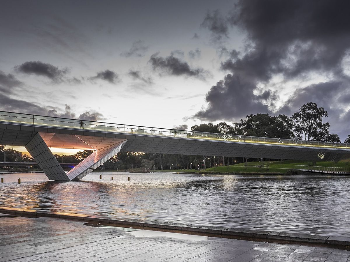 River Torrens Riverbank Footbridge at dusk