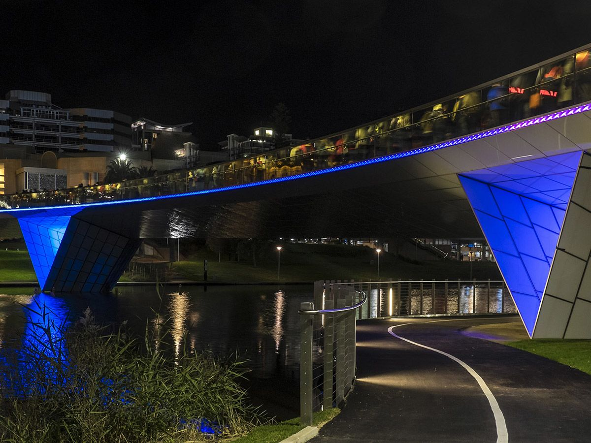 River Torrens Riverbank Footbridge at night