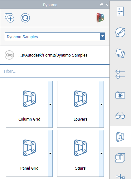 The Dynamo Panel in FormIt for Windows