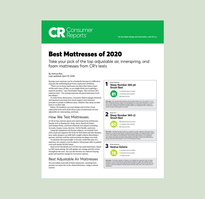 Best Mattresses of 2020 Consumer Reports Adjustable Air Innerspring Hybrid Foam Mattresses