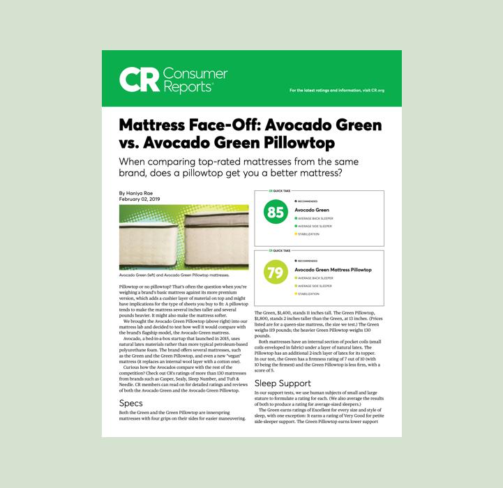Mattress Face-off Avocado Green vs Avocado Green Pillowtop Consumer Reports