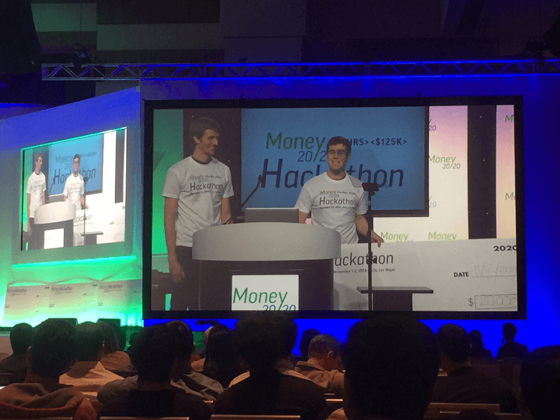 Daniel Gipps and Flynn Howling make the pitch at the Money 20/20 Hackathon.