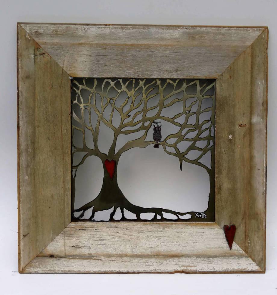 Owl Tree in barnwood frame