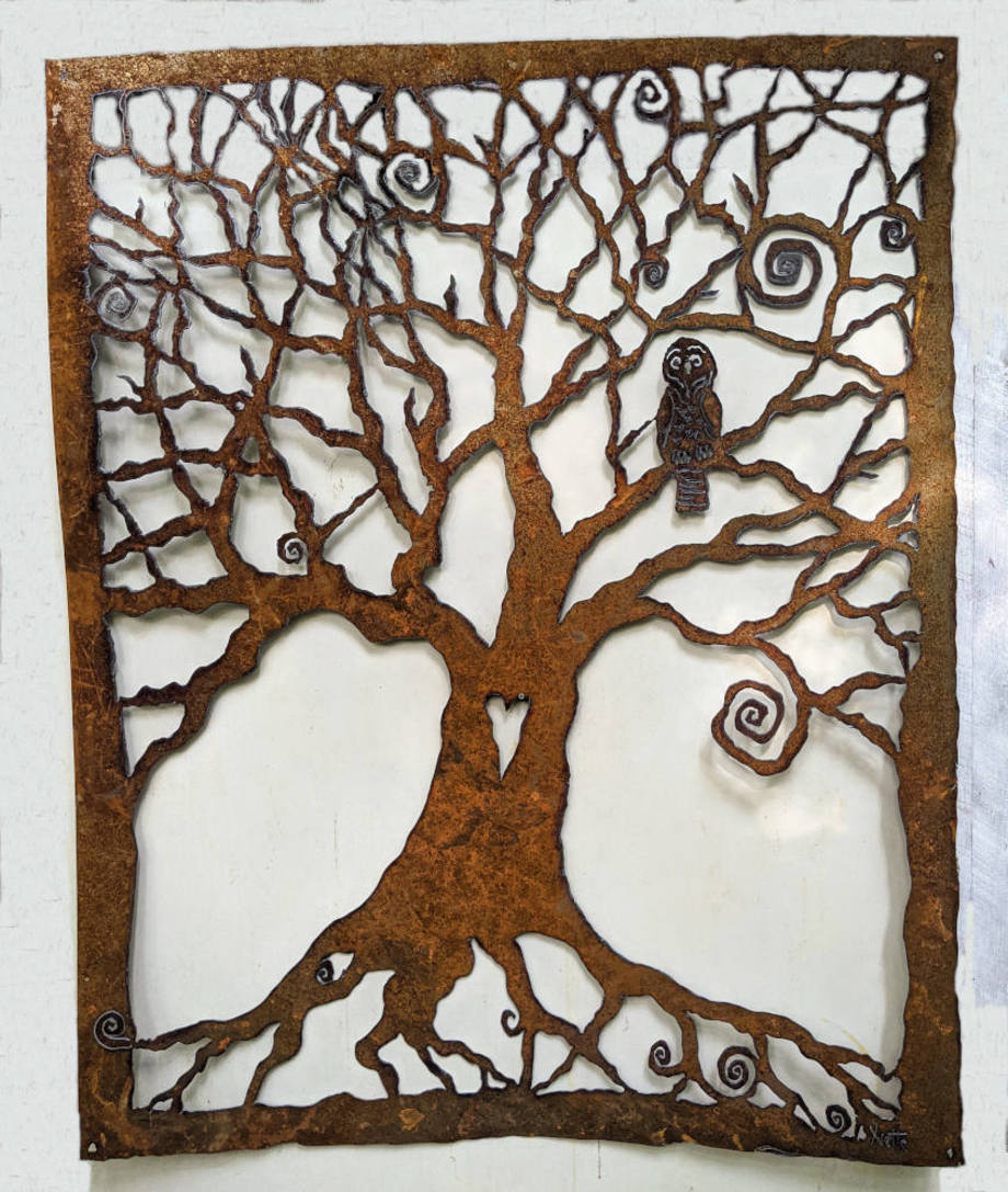 Large Spiral Tree with Owl